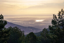 Green Mountain Landscape, At Sunrise With Golden Tones And A View Of The Horizon With Large Areas Of Land. La Morcuera Madrid.