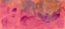 Pink And Purple Watercolor Paint Splash Or Blotch Background, Blotches And Blobs Of Paint And Old Vintage Watercolor Paper Texture Grain
