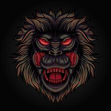 Spooky Gorilla Head Illustration