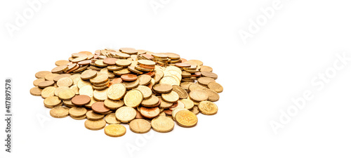 Stapel Euro münzen auf hellem Hintergrund Wallpaper Mural