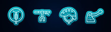 Set Line Bicycle, Handlebar, Helmet And Brake. Glowing Neon Icon. Vector.