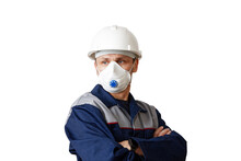 Portrait Of A Man In A White Construction Helmet, Respirator And Work Clothes, Isolated On White.