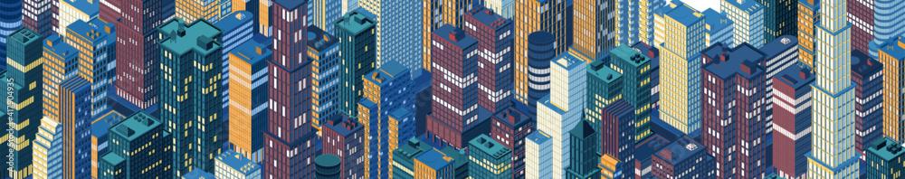 Fototapeta Isometric panoramic city centre, cityscape, city skyline. Vector illustration in flat design.