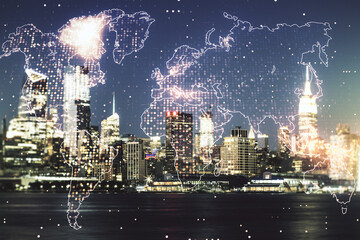 Double exposure of abstract digital world map on New York city skyscrapers background, research and strategy concept