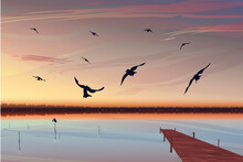 Bright Realistic Sunset Over The Lake With A Pier In The Background. Birds Fly In The Foreground. Beautiful Dawn With A Warm Yellow-pink Sky. Landscape Over The Quiet Sea. Vector Eps Illustration.