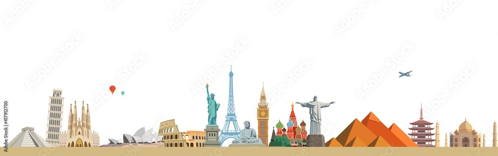 World culture tourism travel historical monuments and holiday. - obrazy, fototapety, plakaty