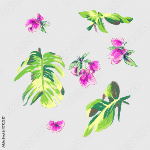 Tableau sur Toile watercolor greeting card elements of palm leaves and bougainvillea