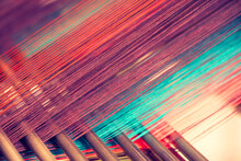 Multicolored Straight Strands Texture Background, Sewing Equipment, Loom Equipment At A Garment Factory