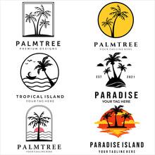 Set Palm Tree Or Coconut Tree Vector Logo Illustration Design