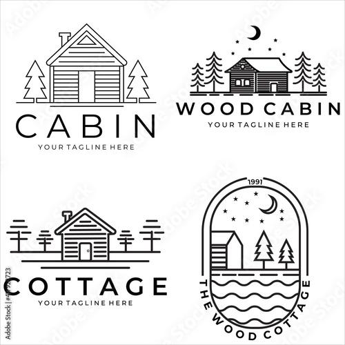Fotografie, Obraz set cabin or cottage vector logo illustration design