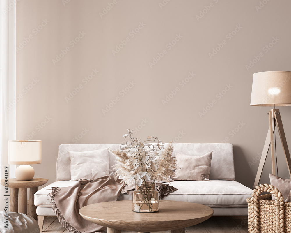 Fototapeta Mock up wall in modern interior background, neutral wooden living room with dried plant and home decor, 3d render