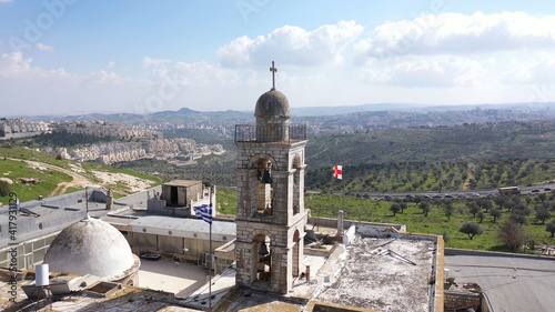 Stampa su Tela Mar elias monastery and Jerusalem in background, Aerial view drone view over Gre