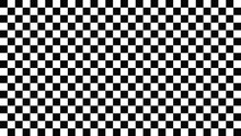 Chess Cells Background. Black Squares With White Texture Geometric Surface Repeat Monochrome Mosaic With Classic Repeat And Optical Vector Illusion.