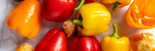 Fresh Vegetables, Colorful Orange, Red And Yellow Bell Peppers