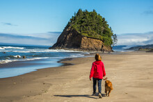 A Woman In A Red Sweatshirt Walking A Golden Retreiver On The Beach With Proposal Rock In Background, Neskowin, Oregon.  Dungeness Craps Have Washed Up On The Beach.