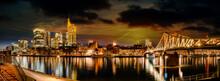 Picturesque View Of Frankfurt Am Main Skyline And Eiserner Steg Bridge With Love Locks