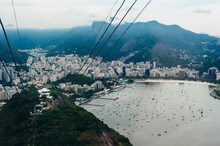 View From Bottom Of Sugarloaf Mountain Just Dusk Overlooking Boats On Guanabara Bay