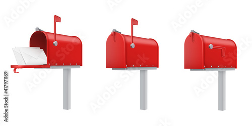 Fotografie, Obraz Mailboxes open, closed, with letters red realistic templates set