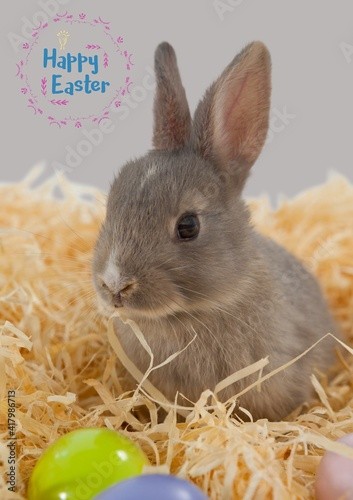 Happy easter text in pink frame and easter bunny in straw on grey background
