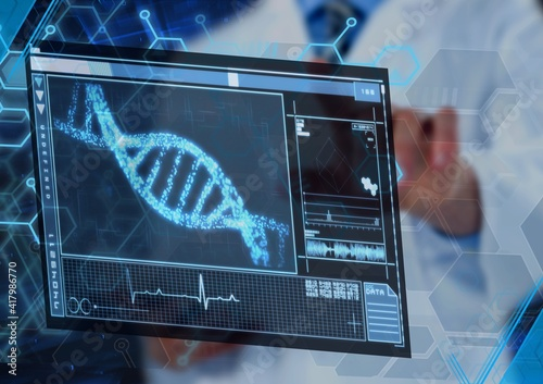 Scientific data processing with dna strand on digital screen