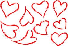 Vector Heart Shape Icon Sign Art Design Set