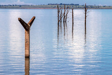 Stakes On The Roof Of The Old Railway Station That Was Flooded By The Dam Of A Hydroelectric Plant On The Paraná River, Municipality Of Rubineia