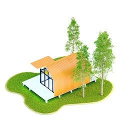 Top view modern small white frame tiny house in the Scandinavian style barn with an orange roof on an island with a green lawn and fir trees. 3D illustration on a white background, isolated