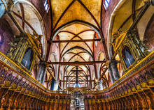 Choir Stall Organ Titian Entrance Frari Church Venice Italy