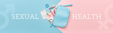 Female Bag With Contraceptive Pills, Condom And Makeup Cosmetics On Color Background. Concept Of Sexual Health