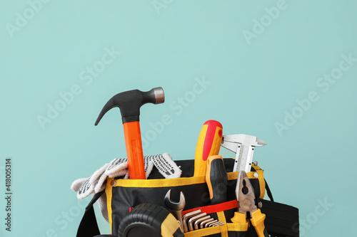 Fotografiet Set of construction tools on color background, closeup