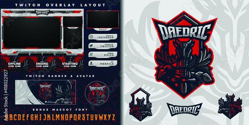Fotografia e-sport logo and streamer template of demon knight holding sword perfect for e-s