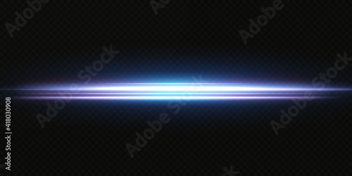 Obraz Blue horizontal lens flares pack. Laser beams, horizontal light rays.Beautiful light flares. Glowing streaks on dark background. Luminous abstract sparkling lined background. - fototapety do salonu