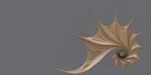 3D Illustration. Golden Ratio. Nautilus Shell, Fibonacci Symmetry, Spiral Structure Growth.