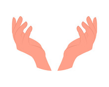Hands Show Up. Vector Illustration Isolated On White Background. Icon For Design