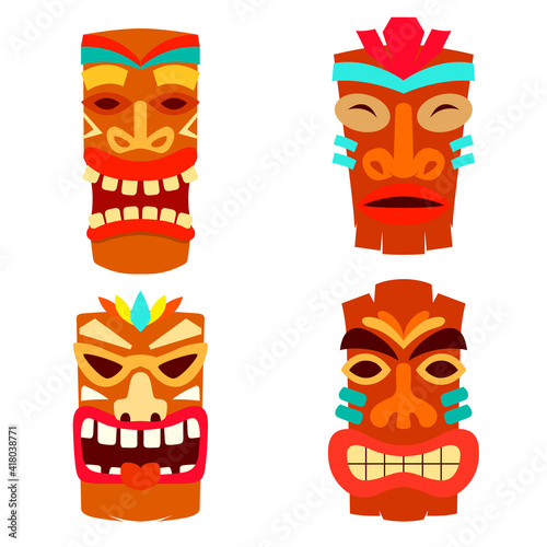 Obraz Set of Illustration of tiki idol in flat style. Design element for logo, label, sign, poster. Vector illustration - fototapety do salonu