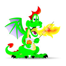 Dragon, Cartoon, Animal, Green, Illustration, Cute, Funny, Isolated, Comic, Monster, Character, Design, Fantasy, Vector, Drawing, Happy