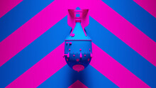 Blue Pink Large Atomic Bomb Thermonuclear Weapon Post-Punk With Pink An Blue Chevron Background 3d Illustration Render