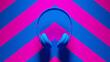 Blue Pink Headphones Post-Punk with Pink an Blue Chevron Background 3d illustration render