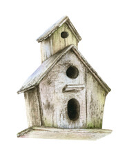 Wooden Birdhouse Hand Drawn In Watercolor Isolated On A White Background. Watercolor Illustration.