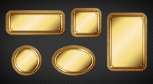 Gold Name Plates With Wooden Frame And Screws Isolated On Transparent Background. Vector Realistic Set Of Empty Brass Sign Boards Different Shapes With Wood Border And Rivets