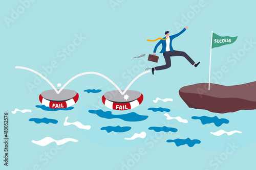 Fototapeta Fail to success, using failure to be lesson learn and creativity to achieve business success concept, smart business jumping on many time of failures floating on water and finally reach success flag. obraz