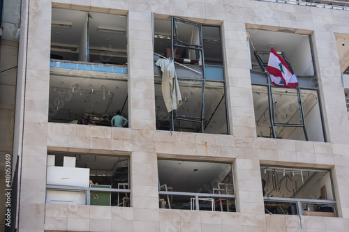 Fotografie, Tablou explosion damage on building facades in downtown Beirut after a massive explosio