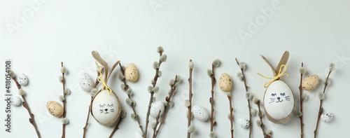 Obraz Easter eggs, quail eggs and catkins on white background - fototapety do salonu