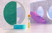 Beauty Fashion Podium Backdrop With Geometric Shape And Spring Flower. Terrazzo Texture. 3d Rendering Scene.