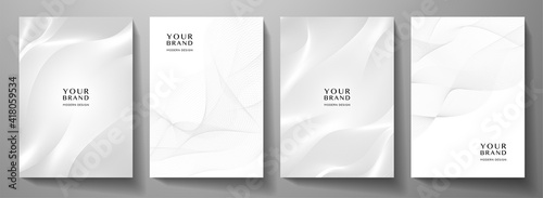 Fototapeta Modern cover design set. Gold abstract line pattern (guilloche curves) in light monochrome colors. Premium white stripe vector layout for business background, certificate, brochure template obraz