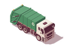 Isometric Garbage Truck. Vector Illustration