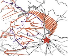 Offensive Direction Map With Red Army Strike Arrows