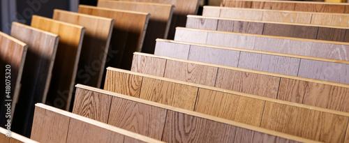 Obraz laminate flooring samples in interior design shop. banner copy space - fototapety do salonu