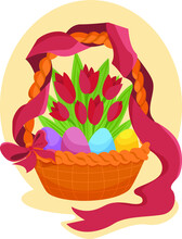 Wicker Basket With Easter Eggs And  Flowers. Vector  Design For Gift Cards And Invitations. Isolated On White Vector Illustration