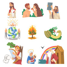 Bible Narratives With Adam And Eve, Burning Bush, Snake Of Temptation And Ark Of Noah Vector Set